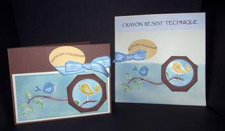 CrayonResistTech&Card-Birds